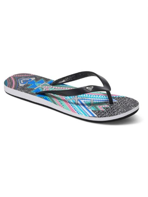 ROXY WOMENS FLIP FLOPS.NEW TAHITI V BLACK/MULTI BEACH THONGS SANDALS 7S/132/BKN